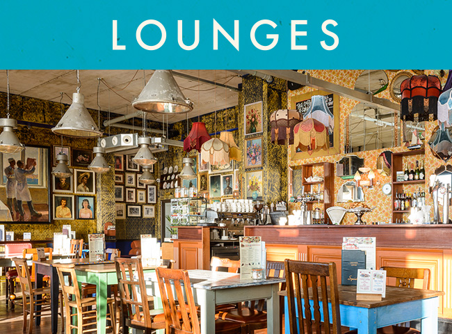 "A view of a lounges restaurant with a blue strip at the top that says ""LOUNGES"" in white letters."